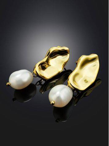 Gold Plated Silver Earrings With Pearl Dangles The Palazzo, image , picture 2