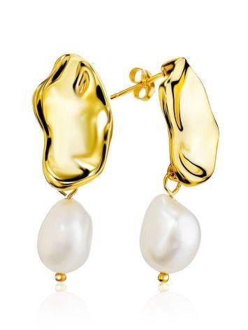 Gold Plated Silver Earrings With Pearl Dangles The Palazzo, image