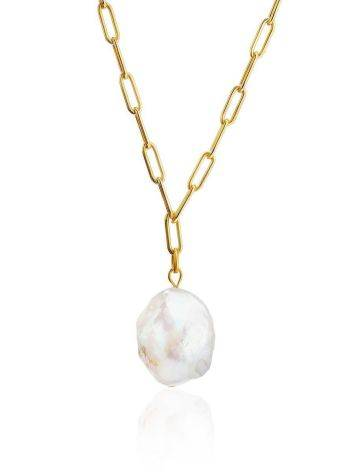 Designer Gold Plated Necklace With Baroque Pearl Pendant The Palazzo, Length: 40, image