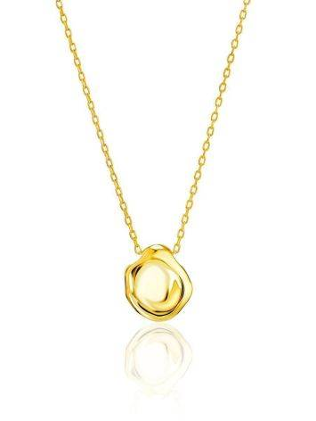 18ct Gold on Sterling Silver Textured Disk Pendant Necklace The Liquid, image