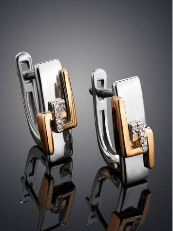 Silver Golden Earrings With Diamonds The Diva, image , picture 2
