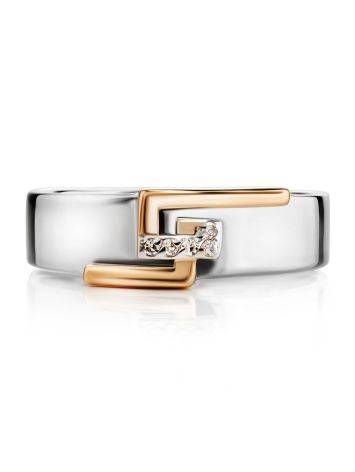 Silver Golden Band Ring With White Diamonds The Diva, Ring Size: 6.5 / 17, image , picture 3