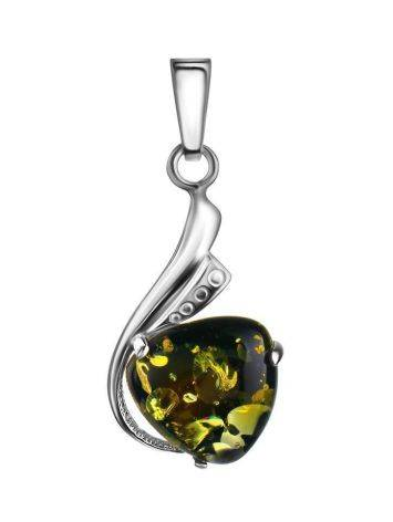 Silver Pendant With Bright Green Amber The Acapulco, image