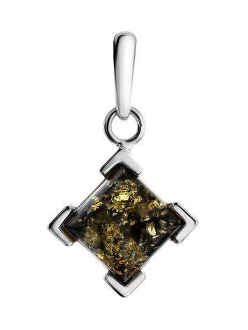 Square Silver Pendant With Green Amber The Artemis, image