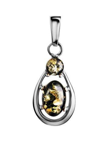 Green Amber Drop Pendant In Silver The Prussia, image