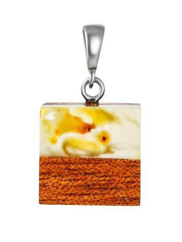 Cubic Wooden Pendant With White Amber The Indonesia, image