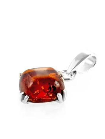 Square Amber Pendant In Silver The Byzantium, image