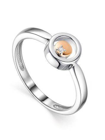 Geometric Silver Ring With Diamond And Gold Detail The Diva, Ring Size: 6 / 16.5, image