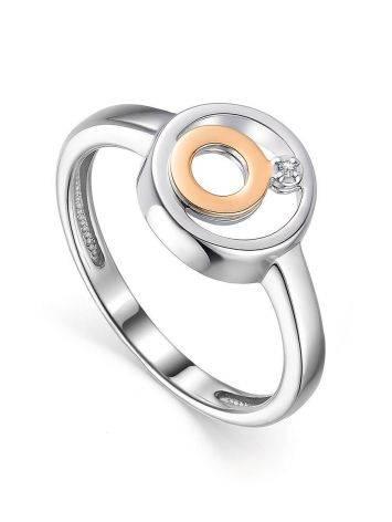Geometric Silver Golden Diamond Ring The Diva, Ring Size: 6 / 16.5, image