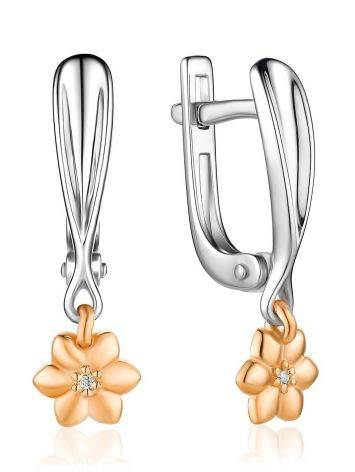 Romantic Diamond Earrings In Gold And Silver The Diva, image