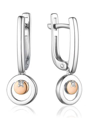 Silver Dangle Earrings With Diamonds And Gold Details The Diva, image