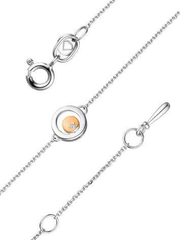 Silver Chain Bracelet With Round Golden Detail And Diamond The Diva, image , picture 3