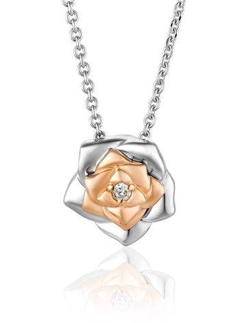 Cute Silver Necklace With Diamond And Gold Detail The Diva, image