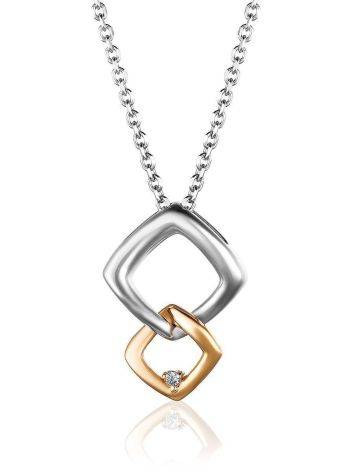 Stylish Silver Necklace With Golden Detail And Diamond The Diva, image