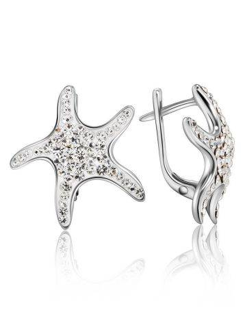 Silver Starfish Earrings With Crystals The Jungle, image