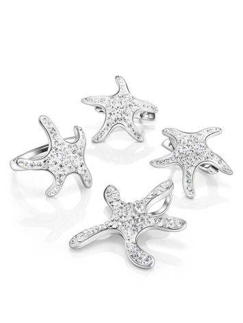 Silver Starfish Ring With Crystals The Jungle, Ring Size: 7 / 17.5, image , picture 5