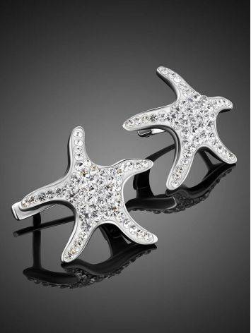 Silver Starfish Earrings With Crystals The Jungle, image , picture 2