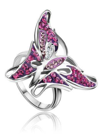 Silver Crystal Butterfly Cocktail Ring The Jungle, Ring Size: 5.5 / 16, image