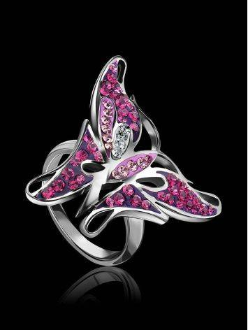 Silver Crystal Butterfly Cocktail Ring The Jungle, Ring Size: 5.5 / 16, image , picture 2