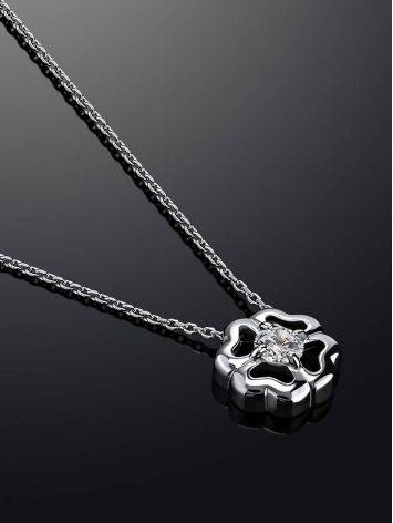 Romantic Silver Necklace With Four Petal Pendant And Crystal, image , picture 2