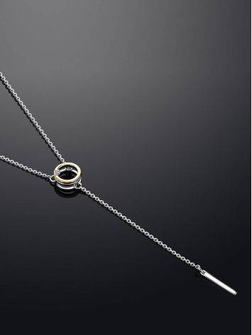 Amazing Silver Necklace With Round Golden Pendant And Diamond The Diva, image , picture 2