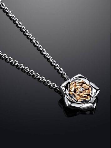 Cute Silver Necklace With Diamond And Gold Detail The Diva, image , picture 2