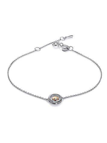 Silver Chain Bracelet With Round Golden Detail And Diamond The Diva, image