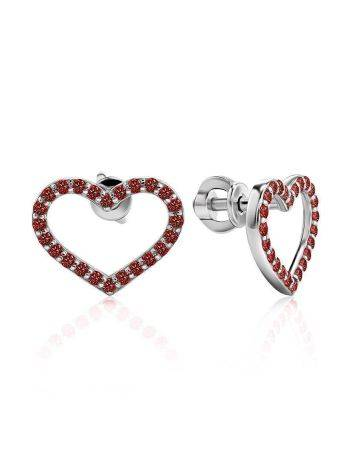 Heart Shaped Studs With Red Crystals The Aurora, image