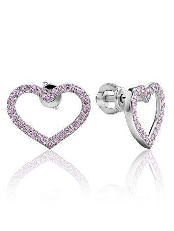 Sparkling Heart Shaped Studs With Light Pink Crystals The Aurora, image