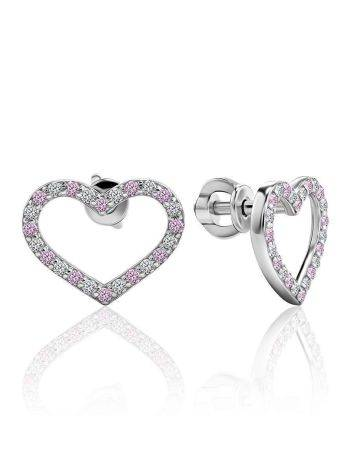 Heart Shaped Studs With White And Lilac Crystals The Aurora, image