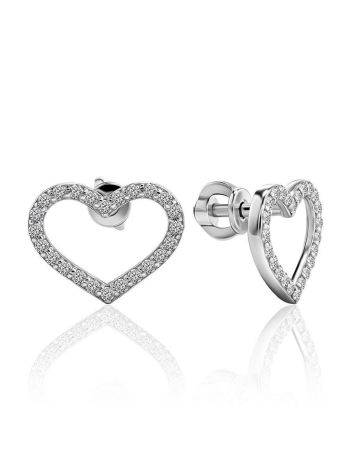 Sparkling Heart Shaped Studs With Crystals The Aurora, image