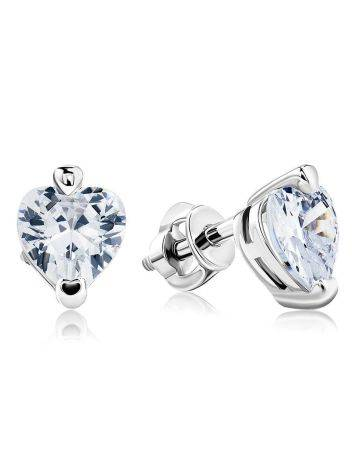 White Crystal Stud Earrings In Silver The Aurora, image