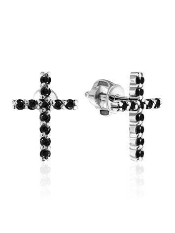 Bold Black Crystal Cross Studs The Aurora, image