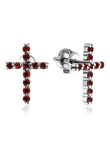 Cross Design Silver Studs With Crystals The Aurora, image