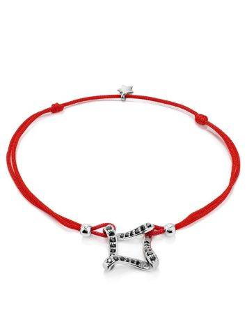 Red Lace Friendship Bracelet With Black Crystal Charm, Length: 16, image