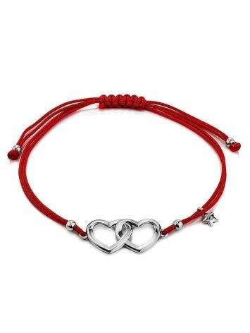 Red Lace Friendship With Linked Heart Charm, image