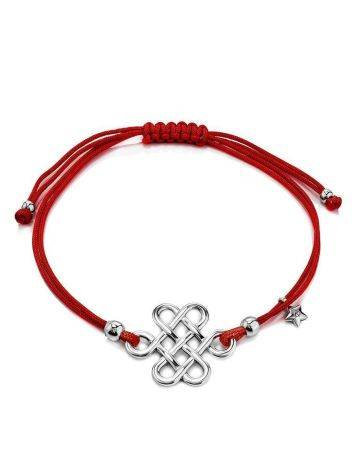 Red Lace Friendship Bracelet With Silver Charm, image