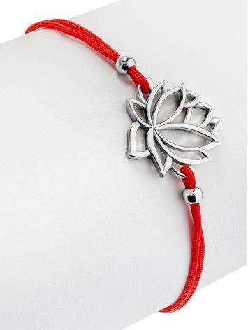 Red Lace Friendship Bracelet With Lotus Charm , Length: 16, image , picture 3