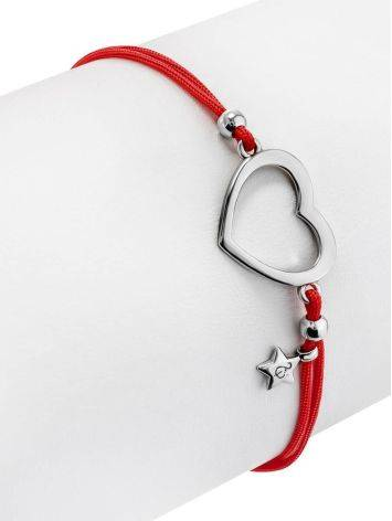 Red Lace Friendship Bracelet With Heart Charm, image , picture 3