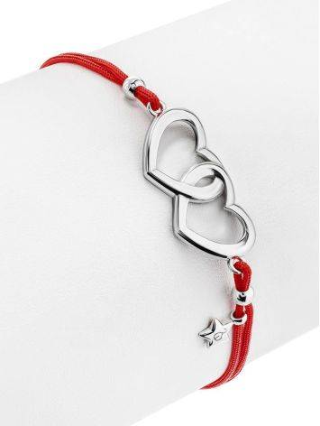 Red Lace Friendship With Linked Heart Charm, image , picture 3