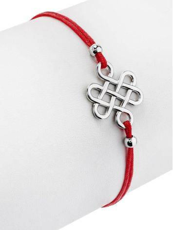 Red Lace Friendship Bracelet With Silver Charm, image , picture 3