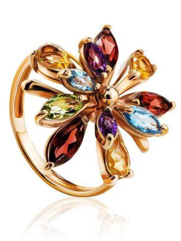 Bright Golden Ring With Multicolor Gemstones, Ring Size: 6.5 / 17, image