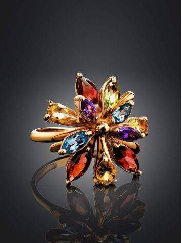 Bright Golden Ring With Multicolor Gemstones, Ring Size: 6.5 / 17, image , picture 2