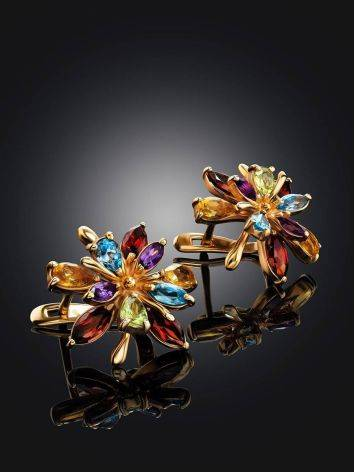 Golden Floral Earrings With Multicolor Gemstones, image , picture 2