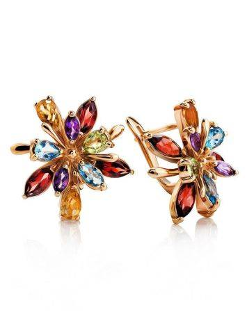 Golden Floral Earrings With Multicolor Gemstones, image