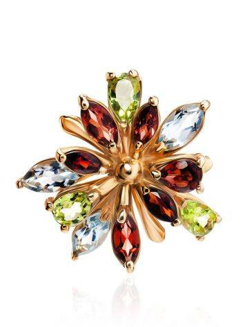 Bright Golden Ring With Multicolor Gemstones, Ring Size: 6.5 / 17, image , picture 3