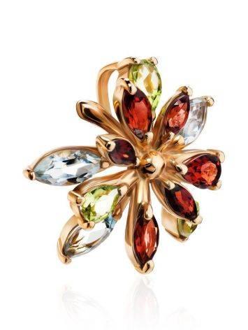 Floral Golden Pendant With Multicolor Gemstones, image