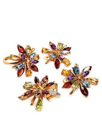 Golden Floral Earrings With Multicolor Gemstones, image , picture 3
