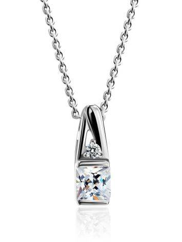 Silver Necklace With White Crystal Pendant, Length: 45, image