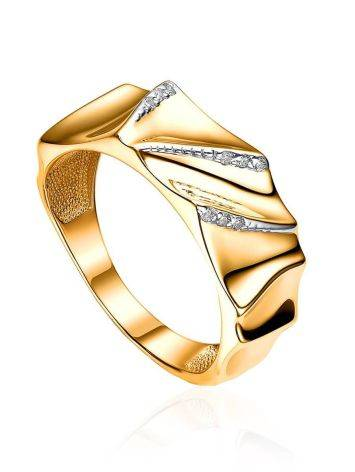 Bright Gold Plated Band Ring With Crystals, Ring Size: 6.5 / 17, image